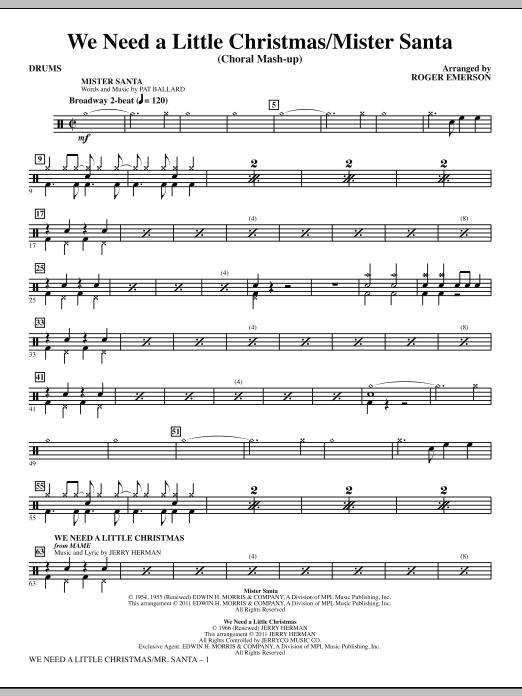 We Need a Little Christmas / Mister Santa - Drums (Choir Instrumental Pak)