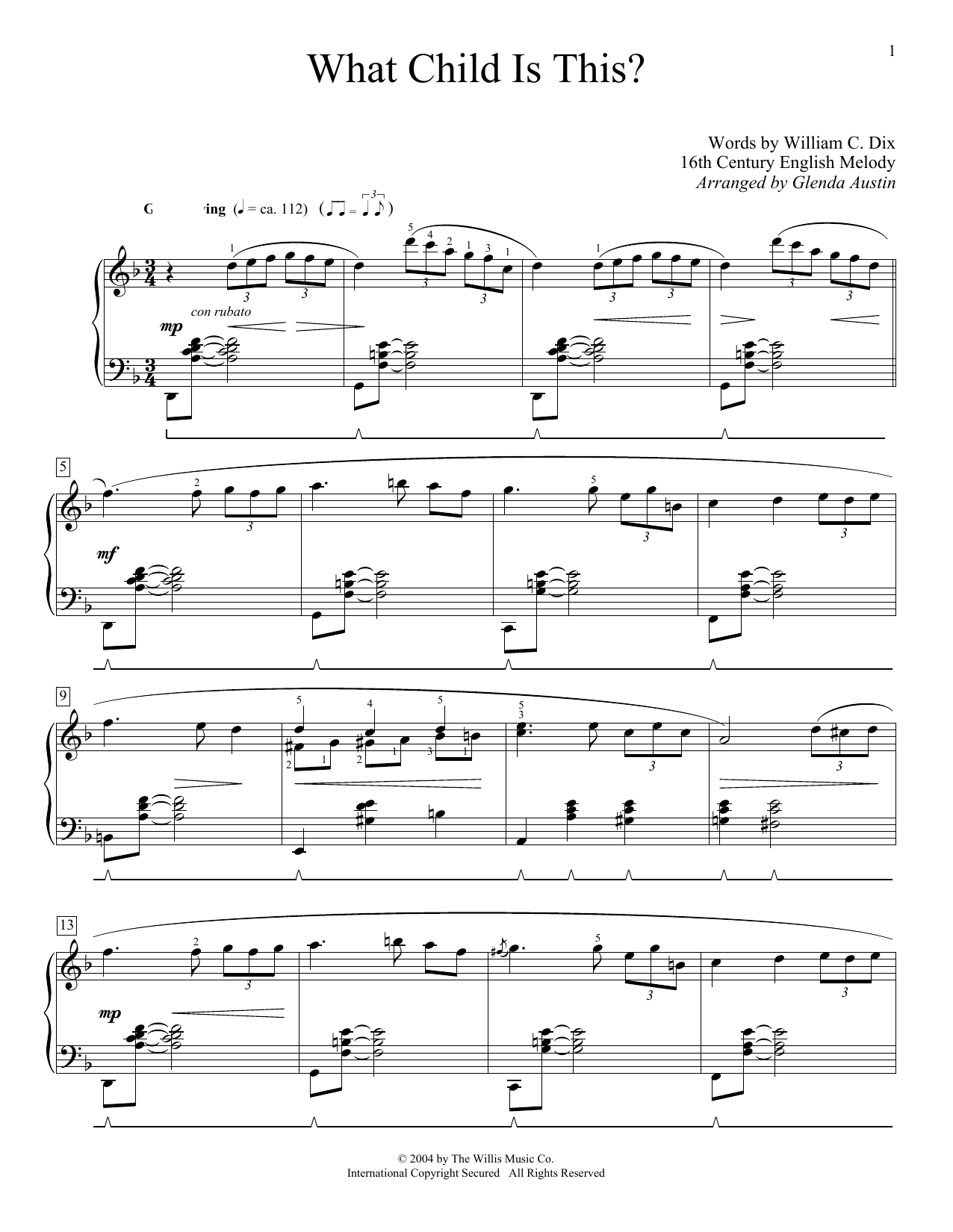 Partition piano What Child Is This? de William C. Dix - Autre