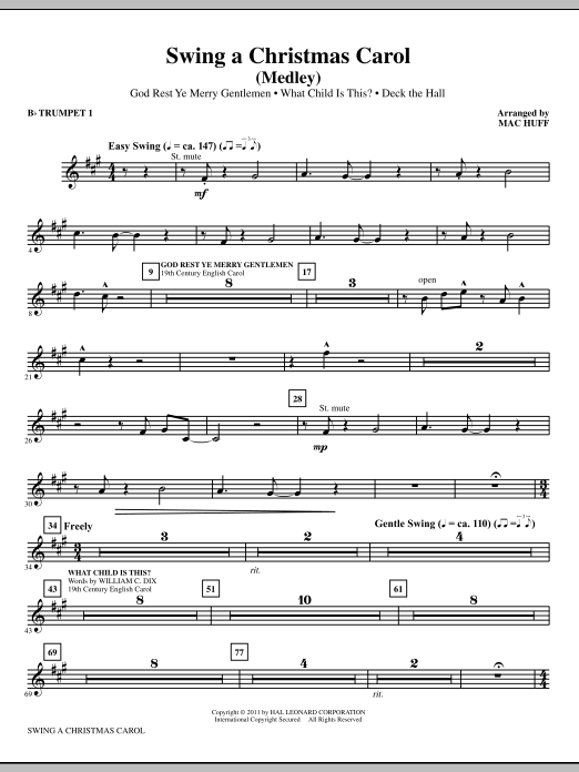 Swing A Christmas Carol (Medley) (complete set of parts) sheet music for orchestra/band (chamber ensemble) by Mac Huff. Score Image Preview.