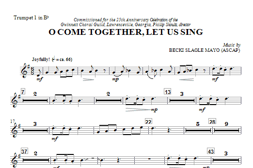 O Come Together, Let Us Sing (complete set of parts) sheet music for orchestra/band (chamber ensemble) by Becki Slagle Mayo. Score Image Preview.