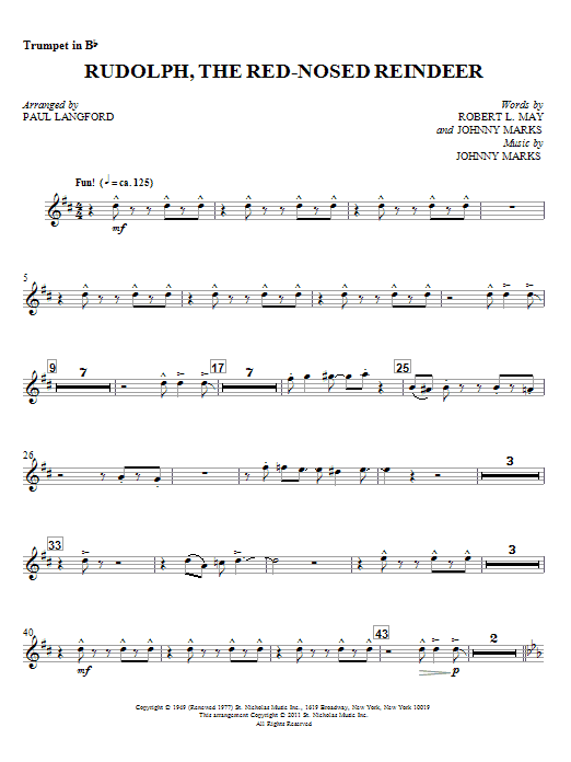 Rudolph, The Red-Nosed Reindeer - Bb Trumpet 1 (Choir Instrumental Pak)