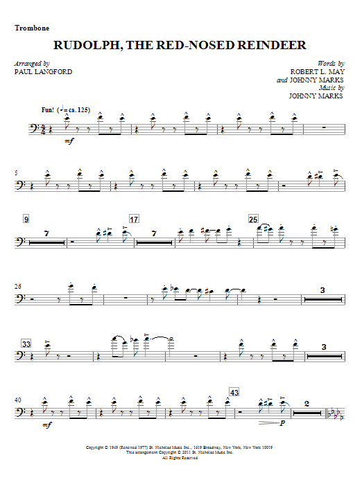 Rudolph, The Red-Nosed Reindeer - Trombone Sheet Music