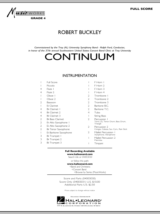 Continuum (COMPLETE) sheet music for concert band by Robert Buckley. Score Image Preview.