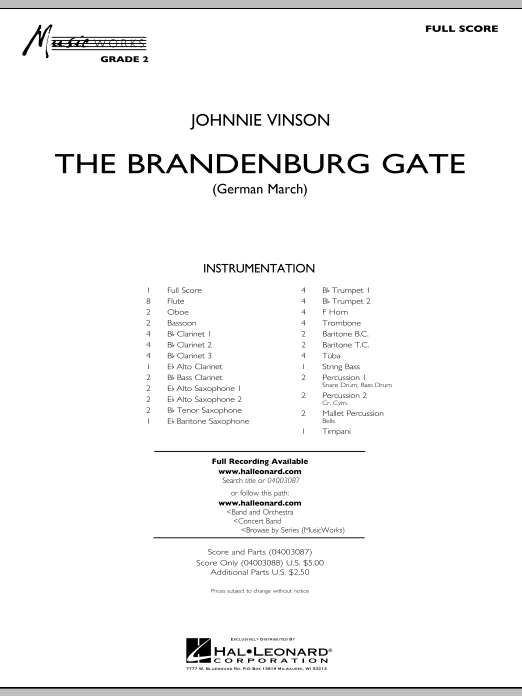 The Brandenburg Gate (German March) (COMPLETE) sheet music for concert band by Johnnie Vinson. Score Image Preview.