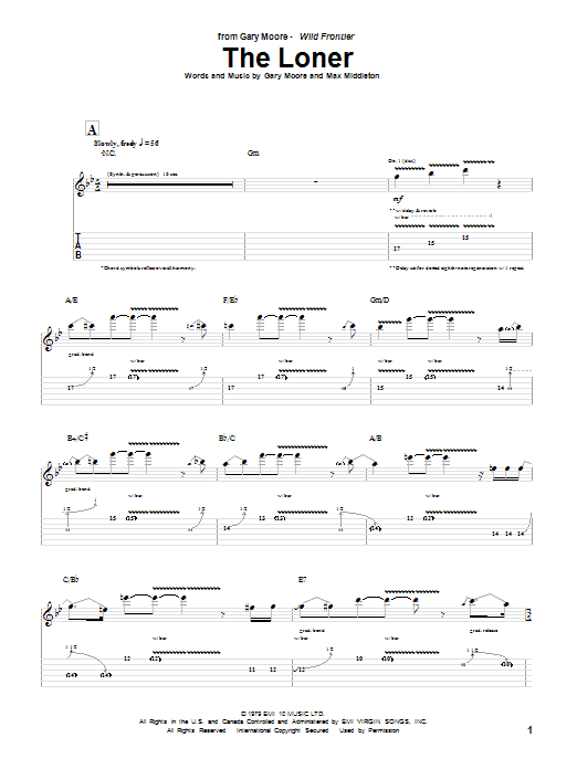 Tablature guitare The Loner de Gary Moore - Tablature Guitare