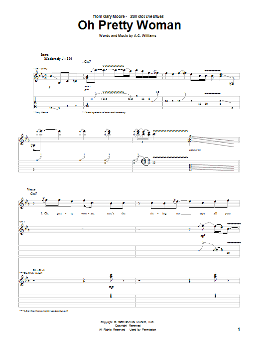 Tablature guitare Oh Pretty Woman de Gary Moore - Tablature Guitare