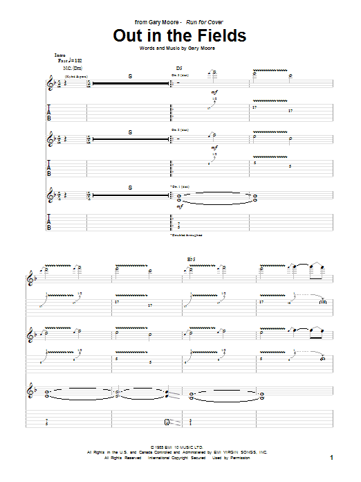 Tablature guitare Out In The Fields de Gary Moore - Tablature Guitare