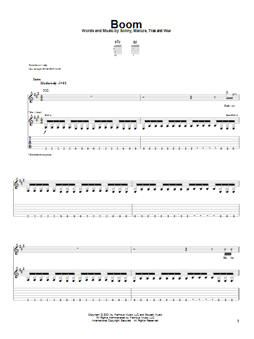 Tablature guitare Boom de P.O.D. (Payable On Death) - Tablature Guitare