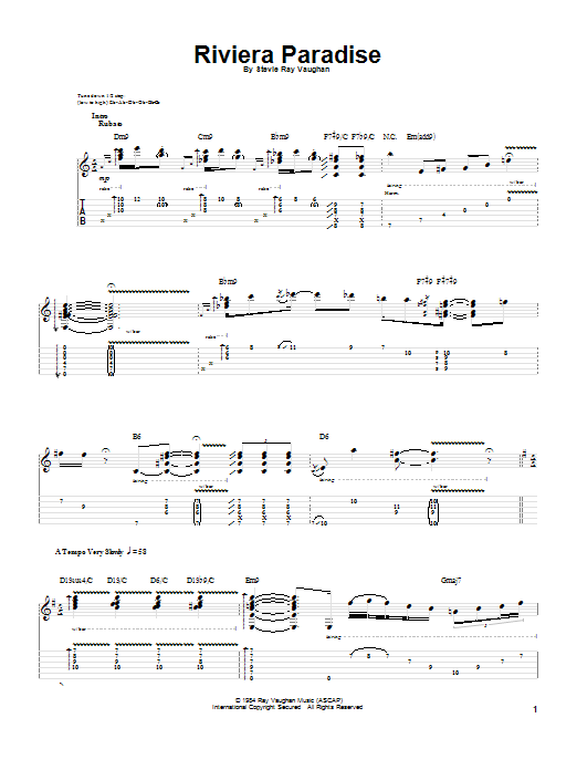 Tablature guitare Riviera Paradise de Stevie Ray Vaughan - Tablature Guitare