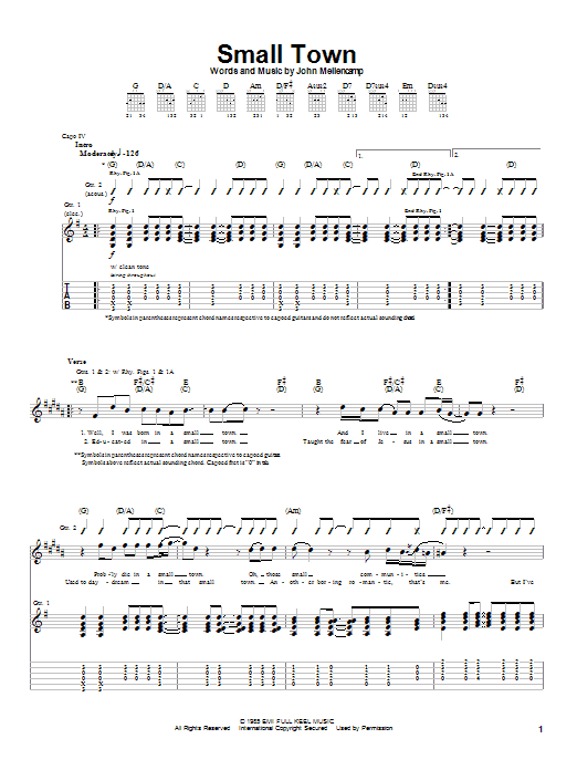 Tablature guitare Small Town de John Mellencamp - Tablature Guitare