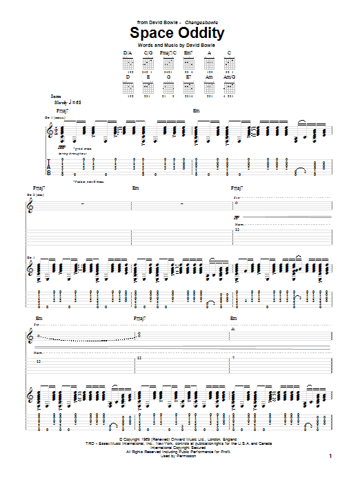 Space Oddity Sheet Music