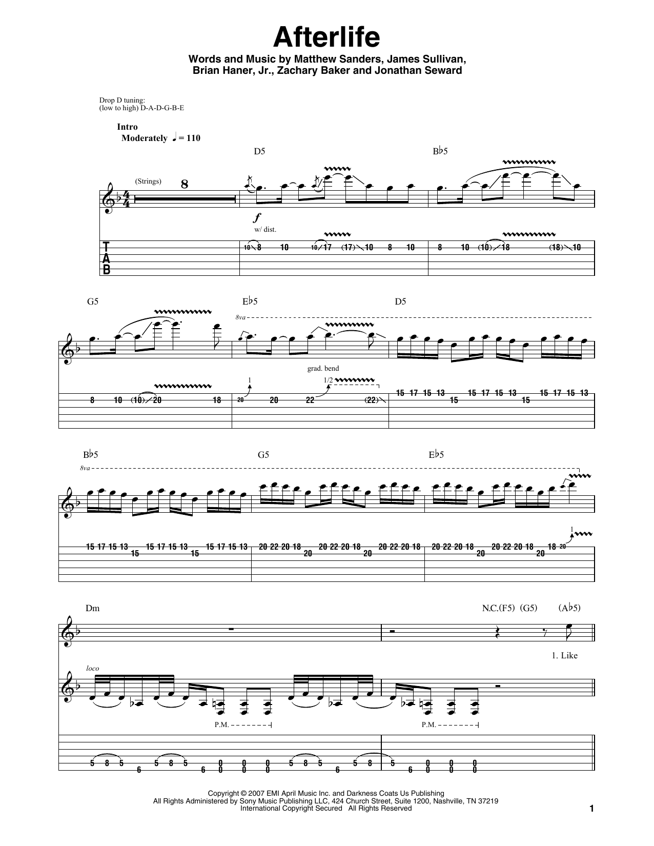 Guitar guitar tabs avenged sevenfold : Afterlife sheet music by Avenged Sevenfold (Guitar Tab Play-Along ...