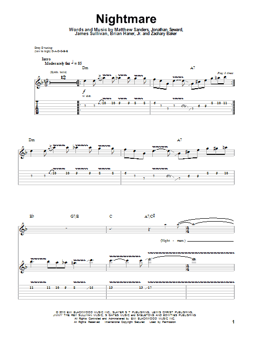 Guitar guitar tabs avenged sevenfold : Nightmare sheet music by Avenged Sevenfold (Guitar Tab Play-Along ...
