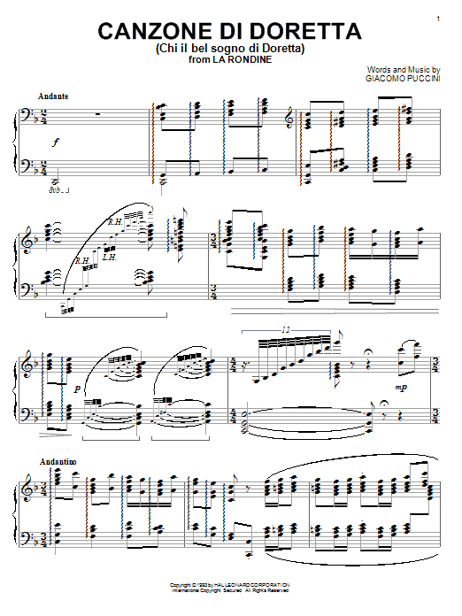 Canzone di Doretta Sheet Music