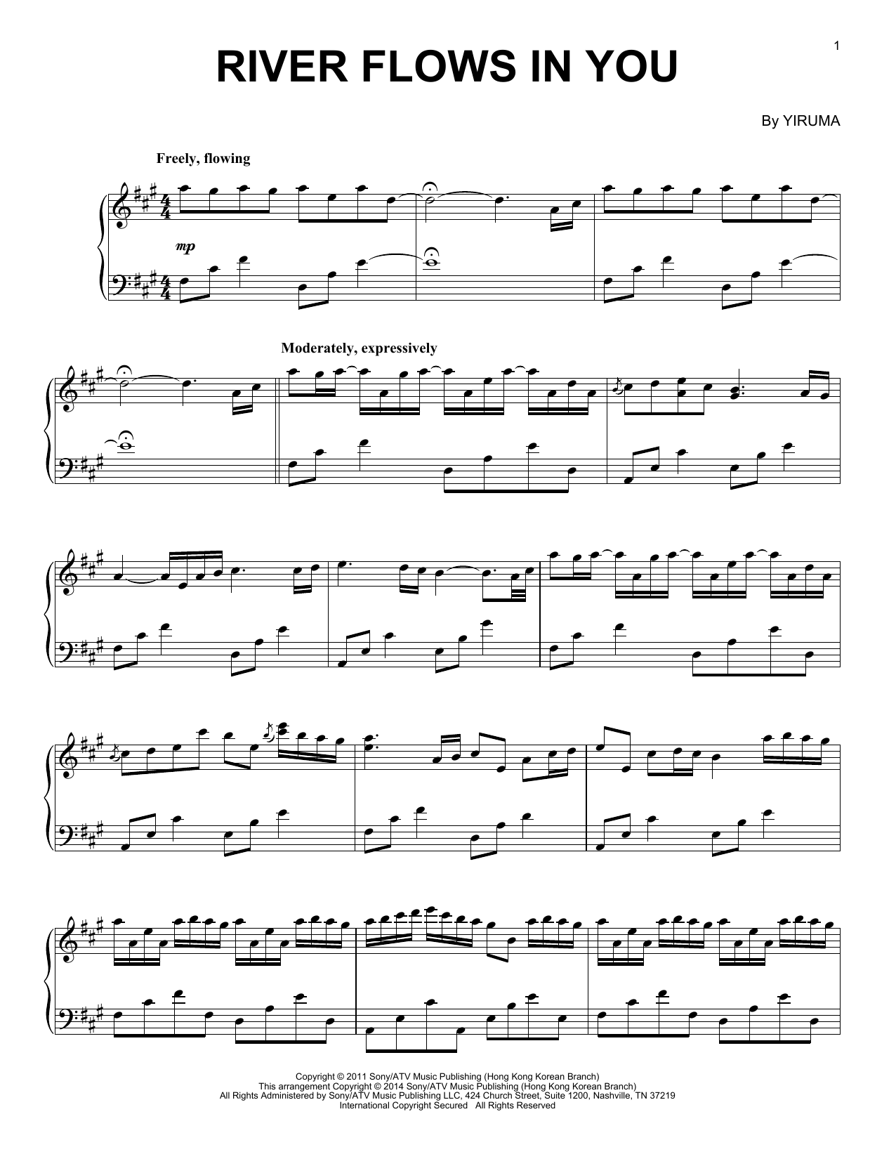River Flows In You sheet music by Yiruma (Piano u2013 84177)
