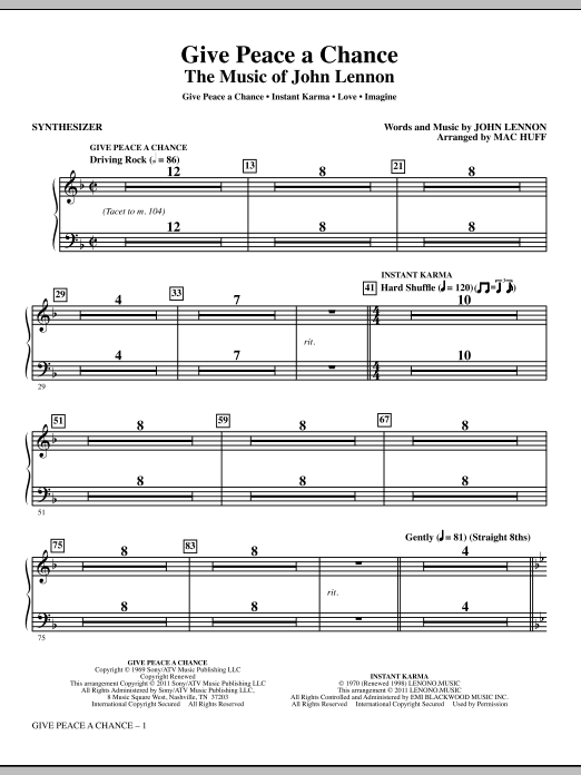 Give Peace A Chance: The Music Of John Lennon (complete set of parts) sheet music for orchestra/band (Rhythm) by Mac Huff and John Lennon. Score Image Preview.