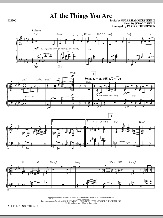All The Things You Are (complete set of parts) sheet music for orchestra/band (Rhythm) by Paris Rutherford, Jerome Kern and Oscar II Hammerstein. Score Image Preview.