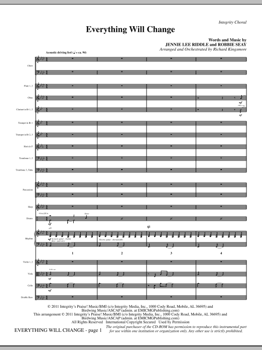 Everything Will Change - Full Score (Choir Instrumental Pak)