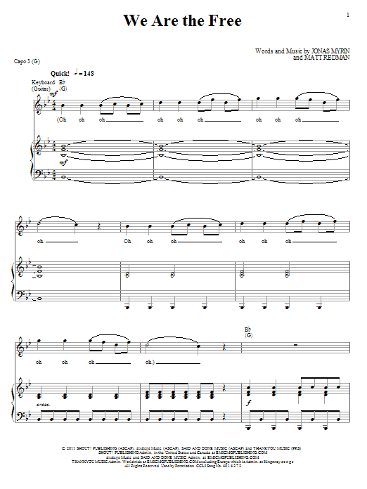 We Are The Free (Piano, Vocal & Guitar (Right-Hand Melody))