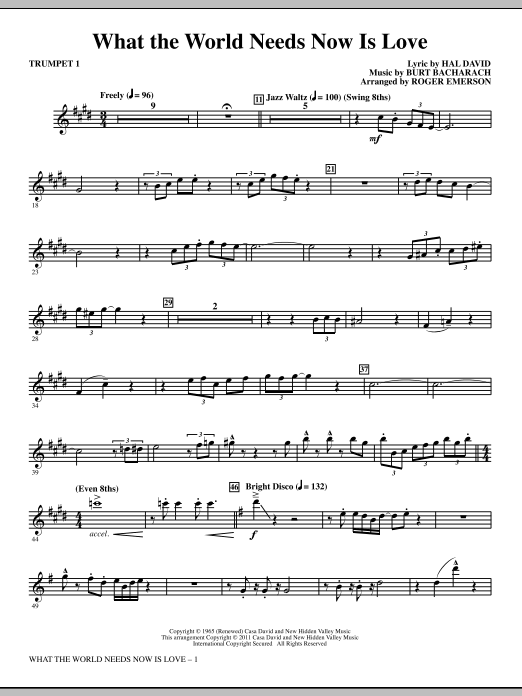 What The World Needs Now Is Love Trumpet 1 Sheet Music Direct