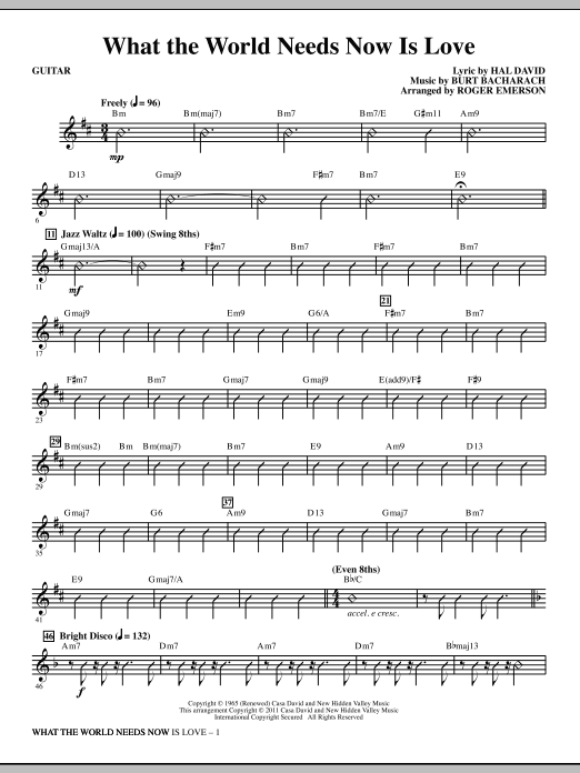 What The World Needs Now Is Love Guitar Sheet Music Direct