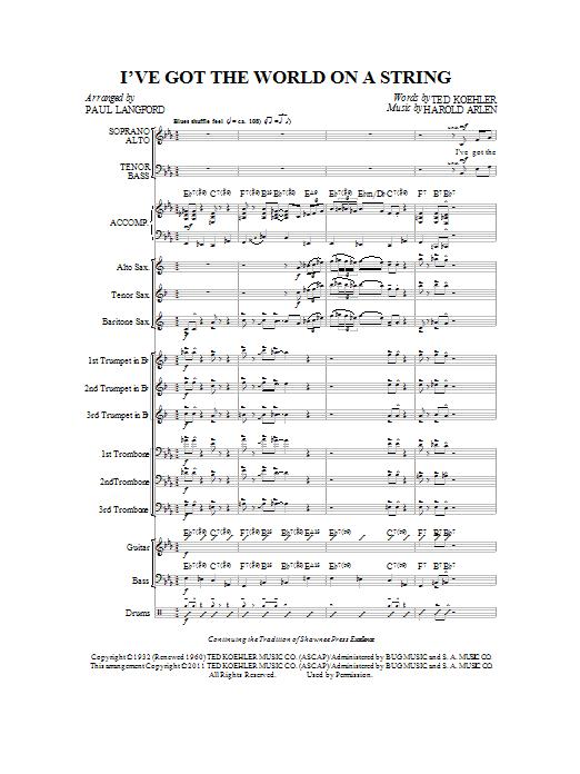I've Got The World On A String - Full Score Sheet Music