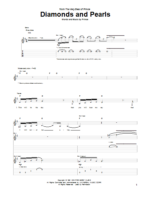 Tablature guitare Diamonds And Pearls de Prince - Tablature Guitare