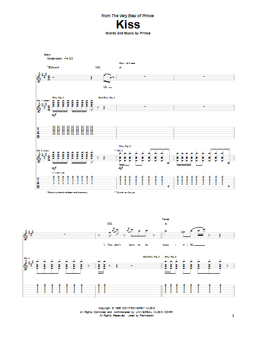 Kiss Guitar Tab by Prince (Guitar Tab – 85936)