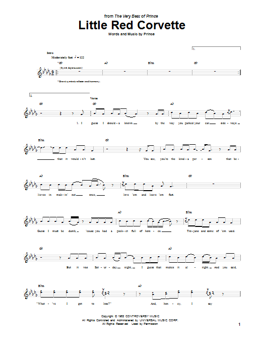Tablature guitare Little Red Corvette de Prince - Tablature Guitare