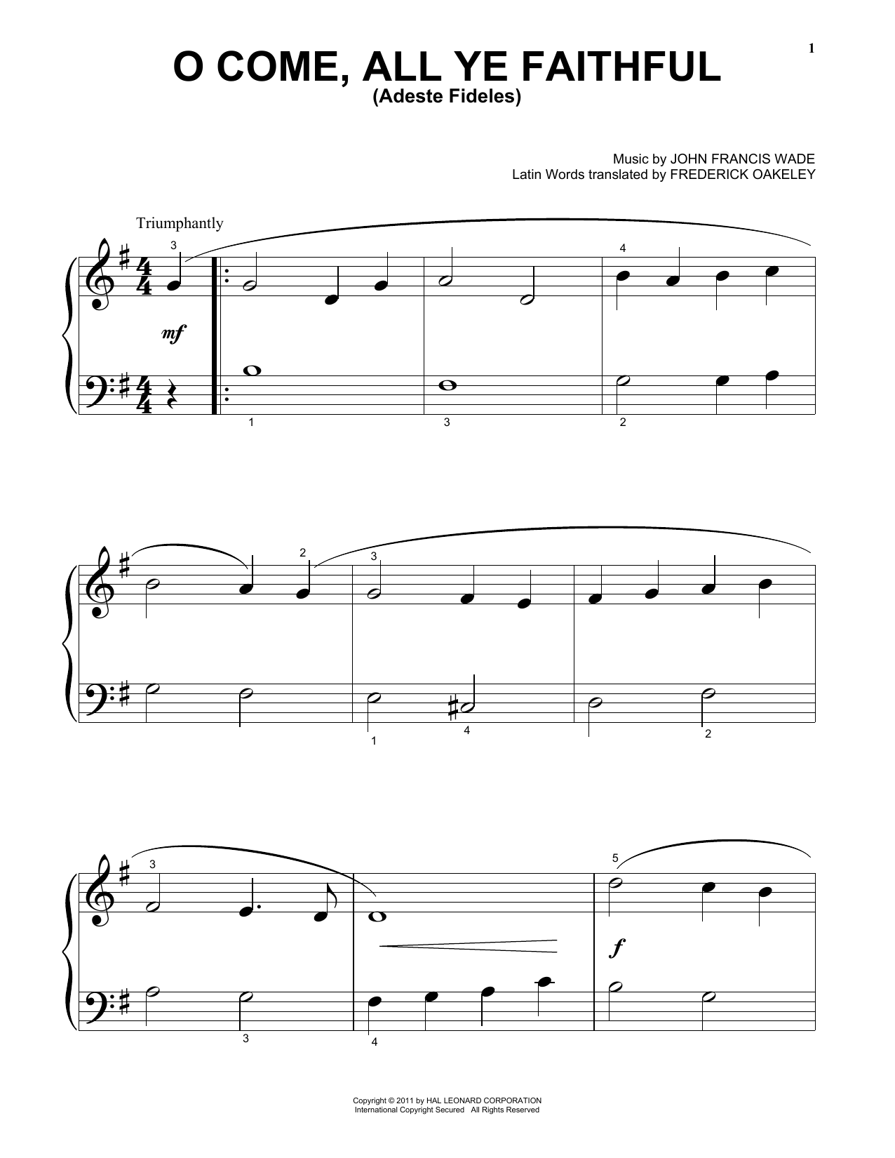 Partition piano O Come, All Ye Faithful (Adeste Fideles) de John Francis Wade - Autre