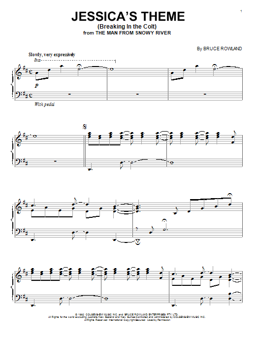 Jessica's Theme (Breaking In The Colt) Sheet Music