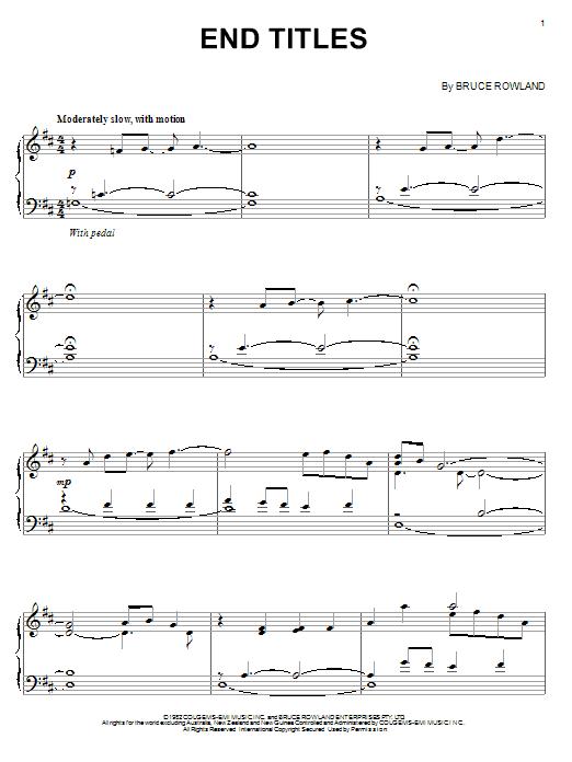 End Titles Sheet Music