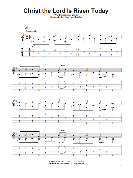 Tablature guitare Christ The Lord Is Risen Today de Charles Wesley - Tablature Guitare