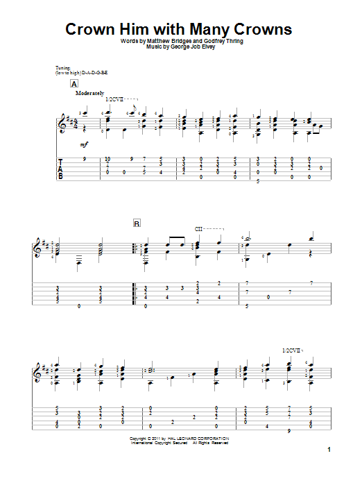 Tablature guitare Crown Him With Many Crowns de Matthew Bridges - Tablature Guitare