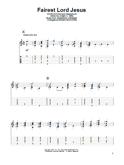 Tablature guitare Fairest Lord Jesus de Munster Gesangbuch - Tablature Guitare