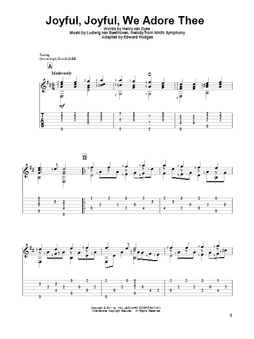 Tablature guitare Joyful, Joyful, We Adore Thee de Ludwig van Beethoven - Tablature Guitare