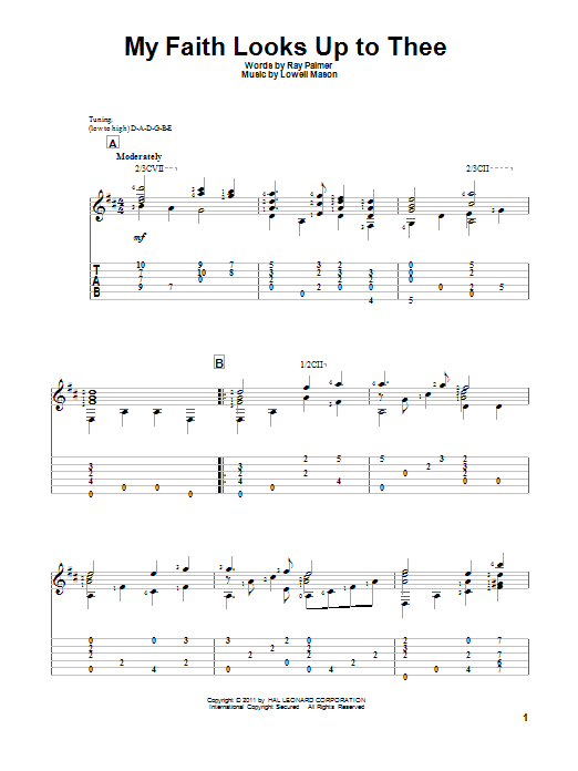 Tablature guitare My Faith Looks Up To Thee de Lowell Mason - Tablature Guitare