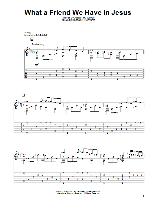 Tablature guitare What A Friend We Have In Jesus de Joseph M. Scriven - Tablature Guitare