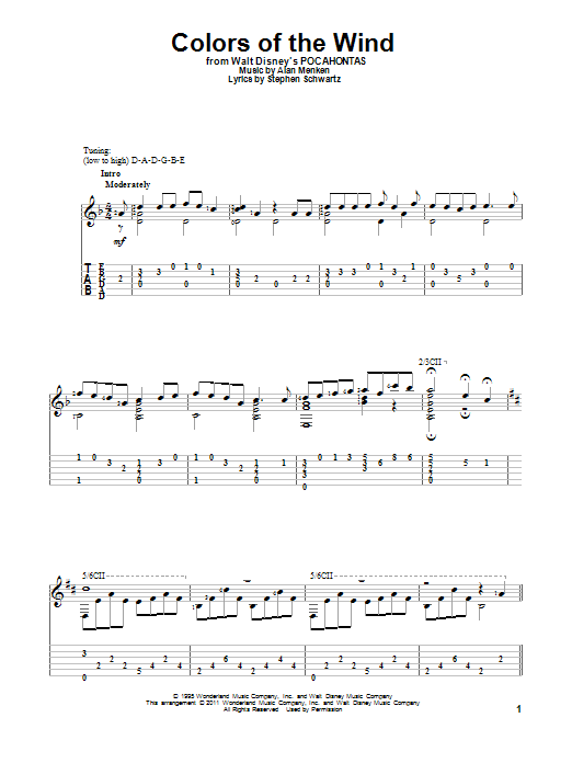 Tablature guitare Colors Of The Wind de Vanessa Williams - Tablature Guitare