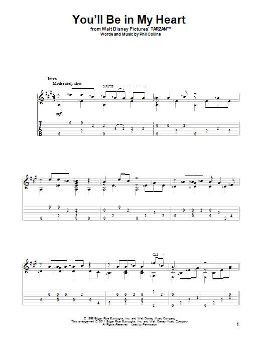 Tablature guitare You'll Be In My Heart de Phil Collins - Tablature Guitare