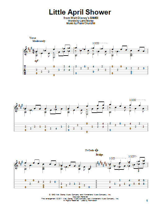Tablature guitare Little April Shower de Frank Churchill - Tablature Guitare