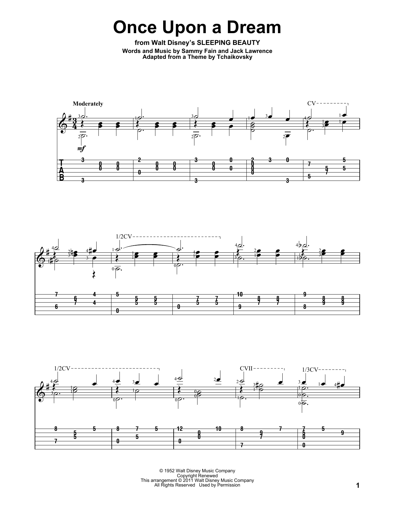 Tablature guitare Once Upon A Dream de Sammy Fain - Tablature Guitare