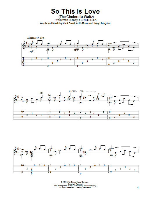 So This Is Love (The Cinderella Waltz) (Guitar Tab)