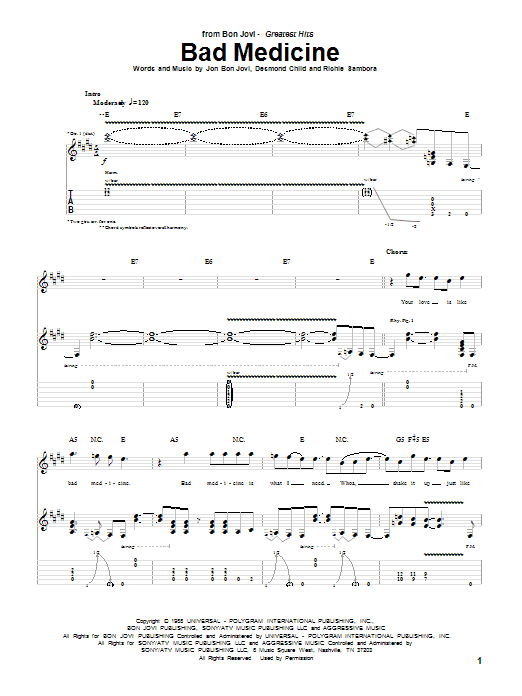 Tablature guitare Bad Medicine de Bon Jovi - Tablature Guitare