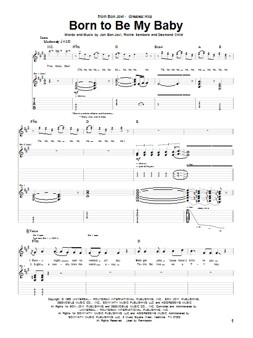 Tablature guitare Born To Be My Baby de Bon Jovi - Tablature Guitare