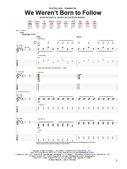 Tablature guitare We Weren't Born To Follow de Bon Jovi - Tablature Guitare
