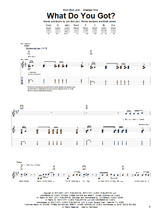 What Do You Got? Guitar Tab by Bon Jovi (Guitar Tab – 84859)