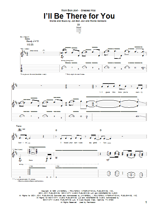Tablature guitare I'll Be There For You de Bon Jovi - Tablature Guitare