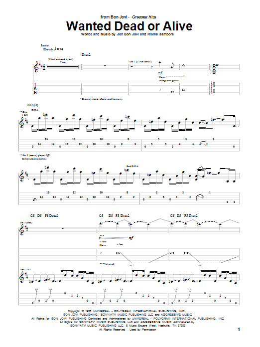 Tablature guitare Wanted Dead Or Alive de Bon Jovi - Tablature Guitare