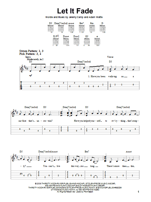 Let It Fade Sheet Music